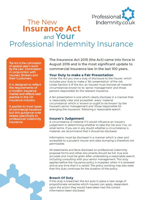 image of guide to the insurance act and professional indemnity insurance
