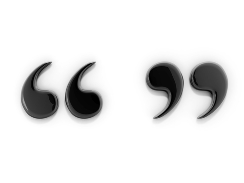 black quotation marks against a white background