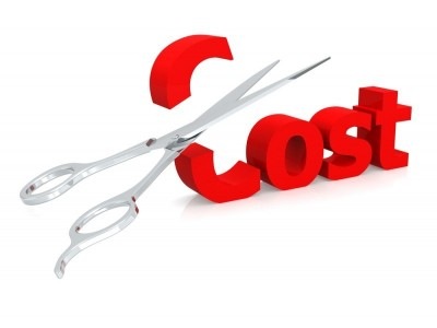 sissors cutting through a cost sign