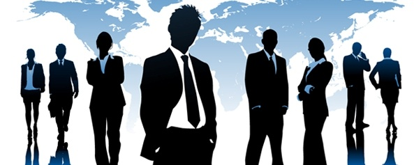 silhouettes of professionals standing in front of global image