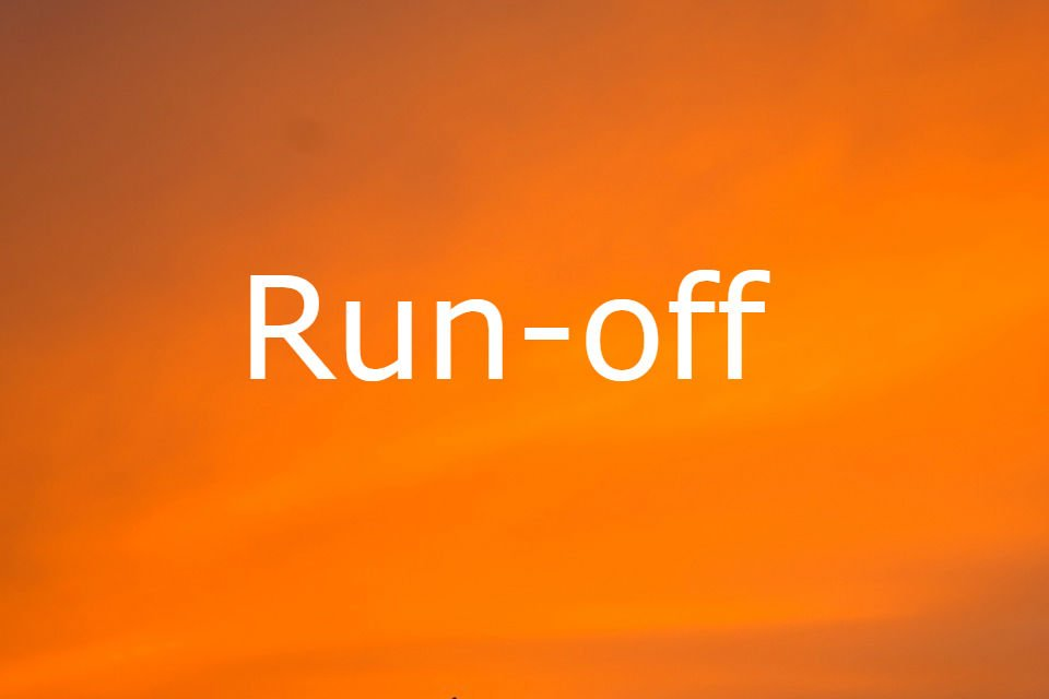 the words run-off against a bright orange background