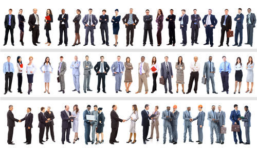 business people stood in line