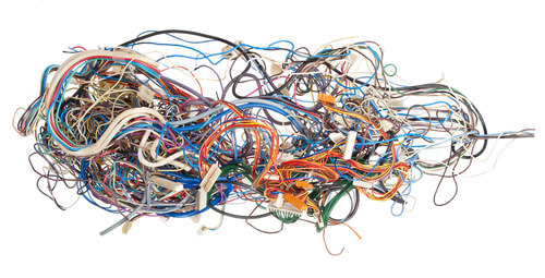 tangled computer wires